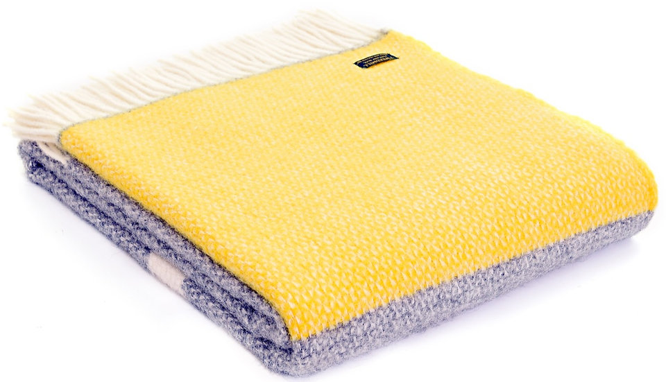 Spring Yellow Welsh 100% Pure New Wool Blankets