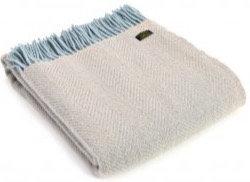 Dusty Blue & Fawn Welsh 100% Pure New Wool Blankets