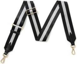 Black & Silver Sparkle Stripe Detachable Fabric Strap