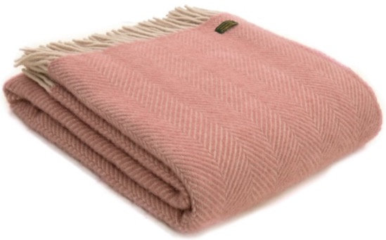 Baby Pink Welsh 100% Pure New Wool Blankets