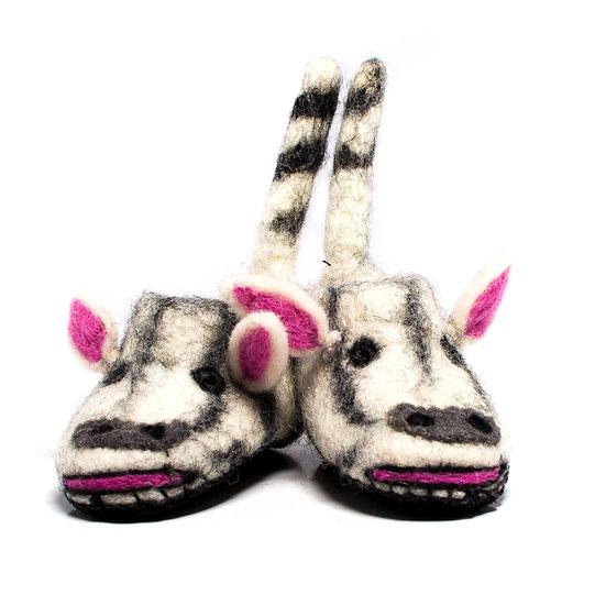 Pundamilia The Zebra Handmade Felted Slippers