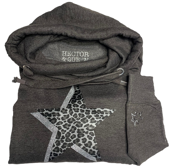 Super Soft Cowl Neck Leopard Star Hoody
