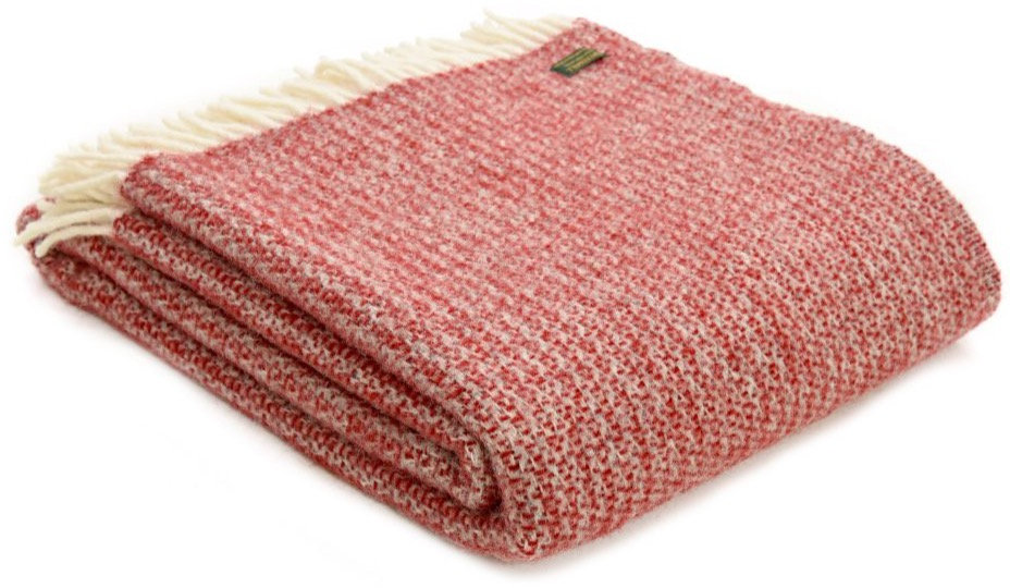 Raspberry Welsh 100% Pure New Wool Blankets