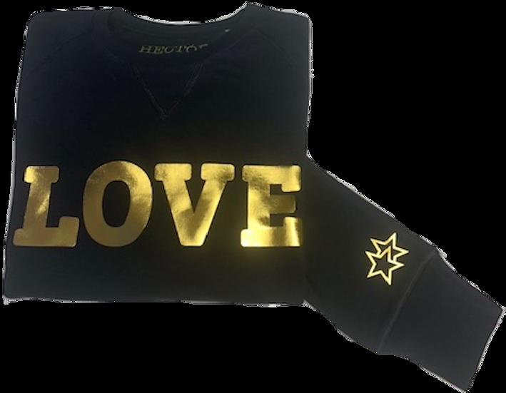 Organic Cotton Navy Sweatshirt with Gold LOVE motif