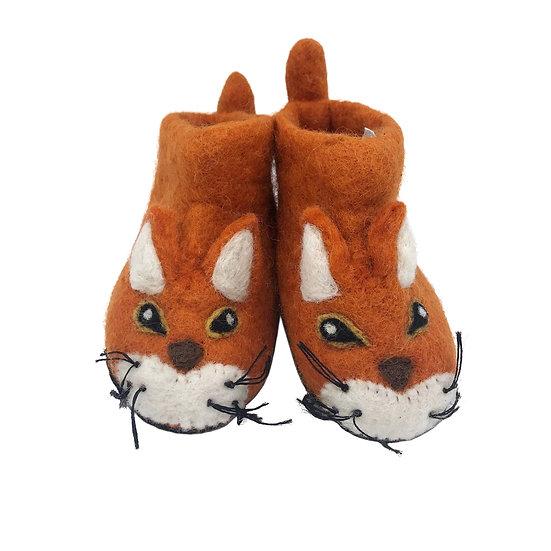 Fergus The Fox Handmade Felted Slippers