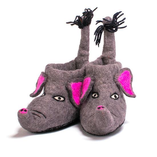 Tembo The Elephant Handmade Felted Slippers