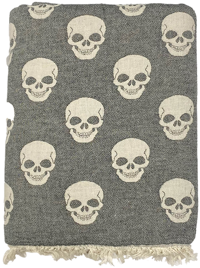 Skull Super Soft Cotton Fleece Lined Throw