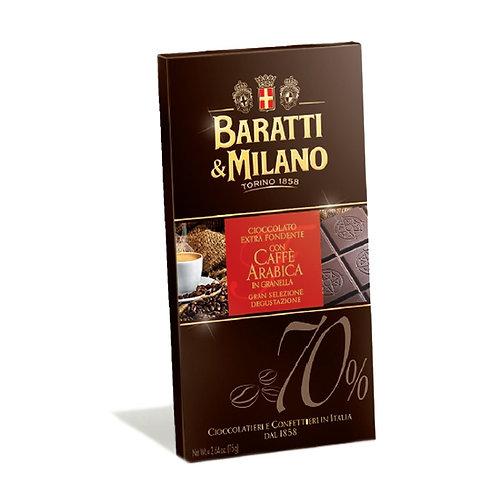 Cioccolata Baratti Fondente 70% e Caffè Arabica 75 g
