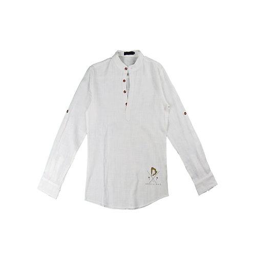 Linen Long Sleeve w/ Grandad Collar