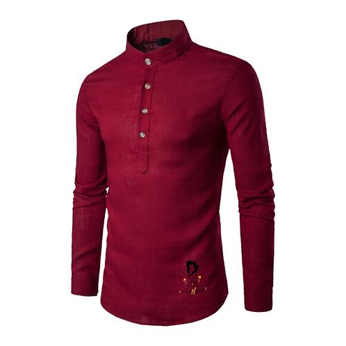 Linen Long Sleeve w/ Grandad Collar in Red Wine