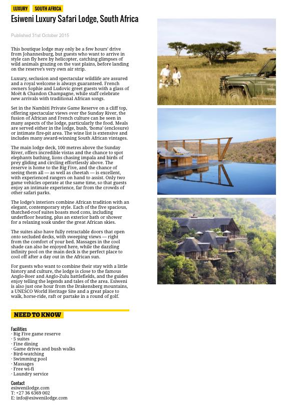 National Geographic Luxury Collection Esiweni 2