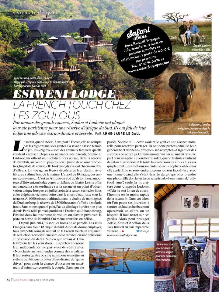 Paris Match Esiweni Lodge 2