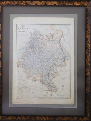 Антикварная карта «Россия в Европе», размер 35х49 см, 1863 год. Стартовая цена 50 000 р.