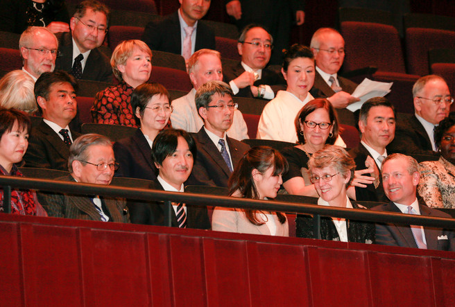 (front row, from second left to second right): Yoshiomi Tamai, President of Ashinaga; Prince Akishino, younger brother of the current Emperor of Japan; his daughter, Princess Mako; and Catharine Hill, then President of Vassar College, enjoy the Sendai performance of At Home in the World.  Narrative writer Lance Ringel is two rows behind the Princess. Photo: Taku Yaginuma