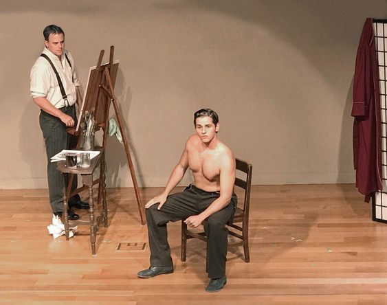 Latimer Alexander V as Frank Leyendecker and Jackson Mattek as Charles Beach in the Reynolda House production of In Love with the Arrow Collar Man.