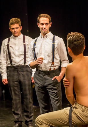 Rupert Simonian as Frank Leyendecker, Ian Brodsky as Joe Leyendecker, and JD Martin as Charles Beach in the Theatre 80 St. Marks production of In Love with the Arrow Collar Man. Photo: Caylena Cahill