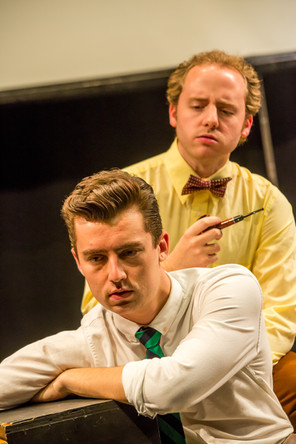 Steven Trolinger (with pipe) as Norman Rockwell and JD Martin as Charles Beach in the Theatre 80 St. Marks production of In Love with the Arrow Collar Man. Photo: Caylena Cahill