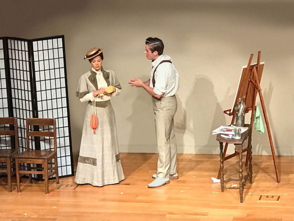 Mary Lea Dominick as Augusta Mary Leyendecker and Jackson Mattek as Charles Beach in the Reynolda House production of In Love with the Arrow Collar Man.