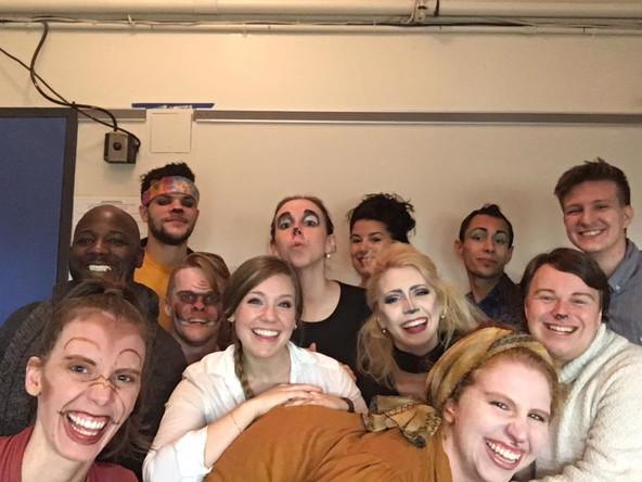 Backstage with the cast of  the New York New Works Theatre Festival production of Animal Story: (first row) Anna Lewein (Monkey); Libby Munson (Alice, the assistant zookeeper); Jenna Cormey (Sheep/Hyena); Danielle Cohn (Camel); Jacob Williams (Polar Bear Cub); (second row) Dennis Williams (Elephant); Matt Baguth (Kangaroo); Patrick Tombs (Warthog); Julie McNamara (Seal); Luisa Sabella (Lioness); Erik Schneider (Peacock); and Josh Bartosch (Mr. Warden, the zookeeper).