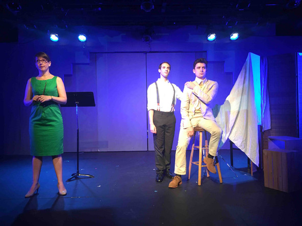 Kathryn Fray as The Art Teacher, Ian Brodsky as Joe Leyendecker, and JD Martin as Charles Beach in the New York New Works Theatre Festival production of In Love with the Arrow Collar Man.