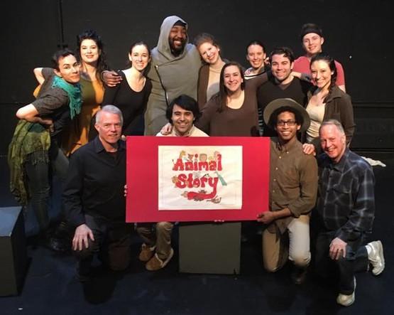 The Midtown International Theatre Festival cast of Animal Story: (first row) director/composer Chuck Muckle; Zach Bullock (Polar Bear Cub); Marcus Edghill (Mr. Warden, the zookeeper); Lance Ringel, book writer/lyricist; (second row) Erik Schneider (Peacock); Luisa Sabella (Lioness); Julie McNamara (Seal); LaRon Lee Hudson (Elephant); Danielle Cohn (Camel); Molly Heller (Monkey); Anna Lewein (Sheep/Hyena); Patrick Brady (Warthog); Jonathan Ragsdale (Kangaroo); Hannah Seusy (Alice, the assistant zookeeper).