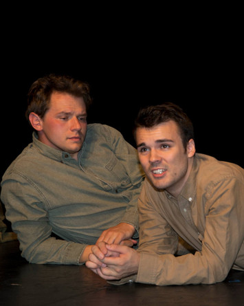 Ben Salus as Tommy Flowers and Bradley Johnson as David Pearson in the New York New Works Theatre Festival production of Flower of Iowa. Photo: Joseph Arbo