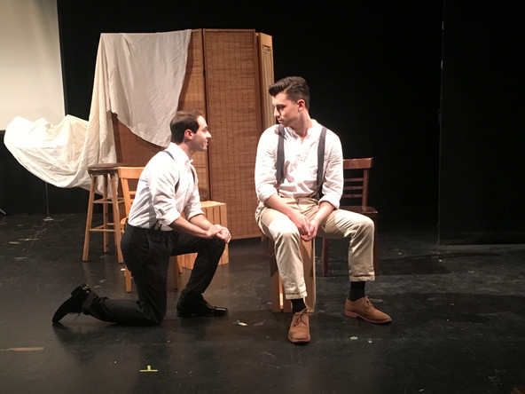 Ian Brodsky as Joe Leyendecker and JD Martin as Charles Beach in the Theatre 80 St. Marks production of In Love with the Arrow Collar Man.