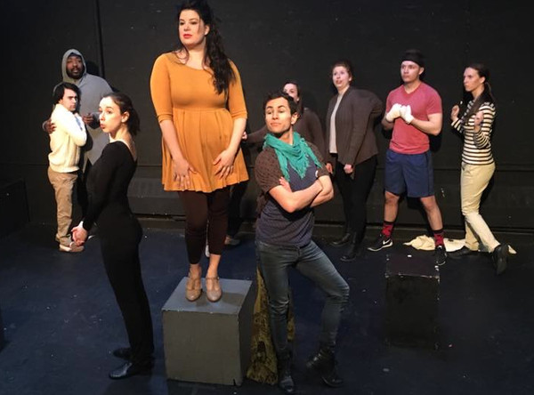 """(foreground) In the Midtown International Theatre Festival production of Animal Story,  the Lioness (Luisa Sabella, center), flanked by the Seal (Julie McNamara) and the Peacock (Erik Schneider), chides the other animals with the song """"You Never Had It so Good."""""""