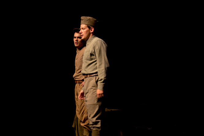 Bradley Johnson as David Pearson and Ben Salus as Tommy Flowers in the New York New Works Theatre Festival production of Flower of Iowa. Photo: Joseph Arbo