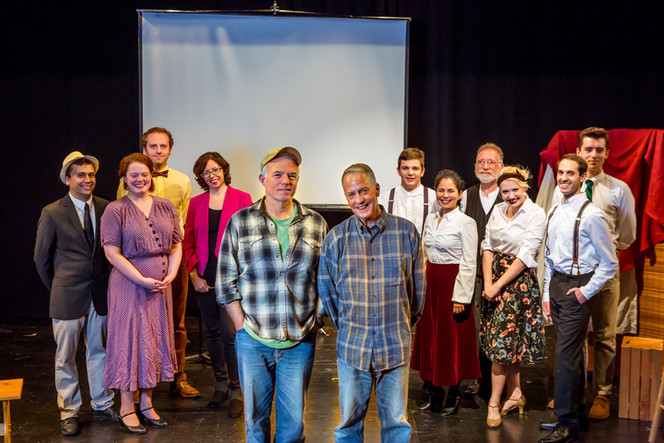 Director Chuck Muckle and playwright Lance Ringel with the cast of the Theatre 80 St. Marks production of In Love with the Arrow Collar Man. Photo: Caylena Cahill