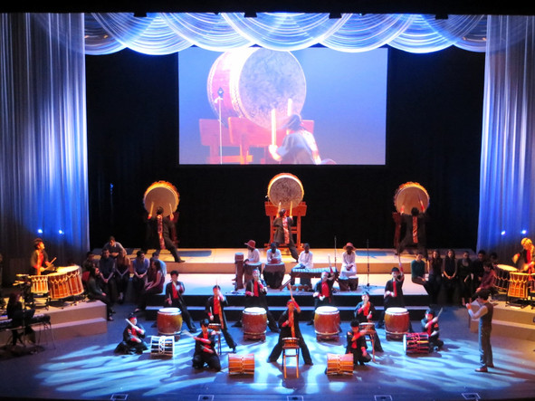 The Tohoku Wa-Daiko Team employs drums made from debris of the Great East Japan Earthquake and Tsunami in the performance of At Home in the World in Sendai, Japan, epicenter of the disaster. Photo: Allen DeKrey/Vassar College