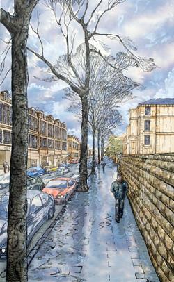 Whiteladies, Bristol, with sleet in November