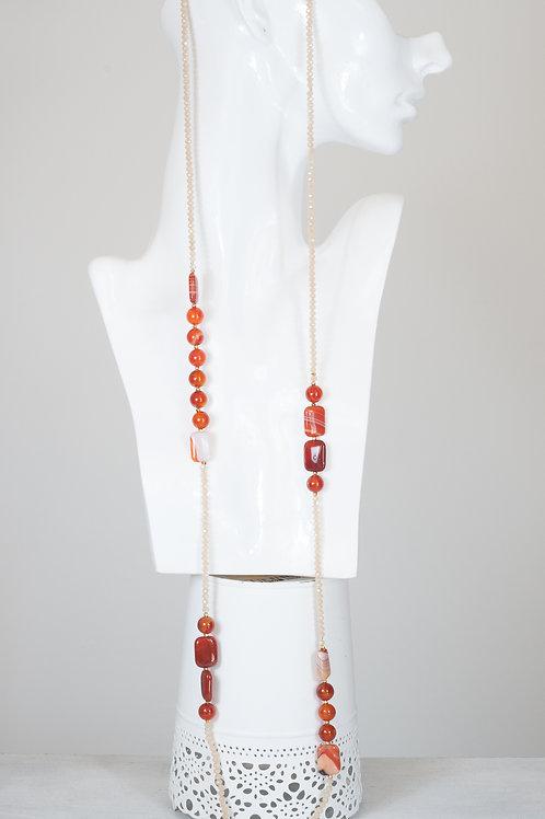 Collana in corniola e cristalli