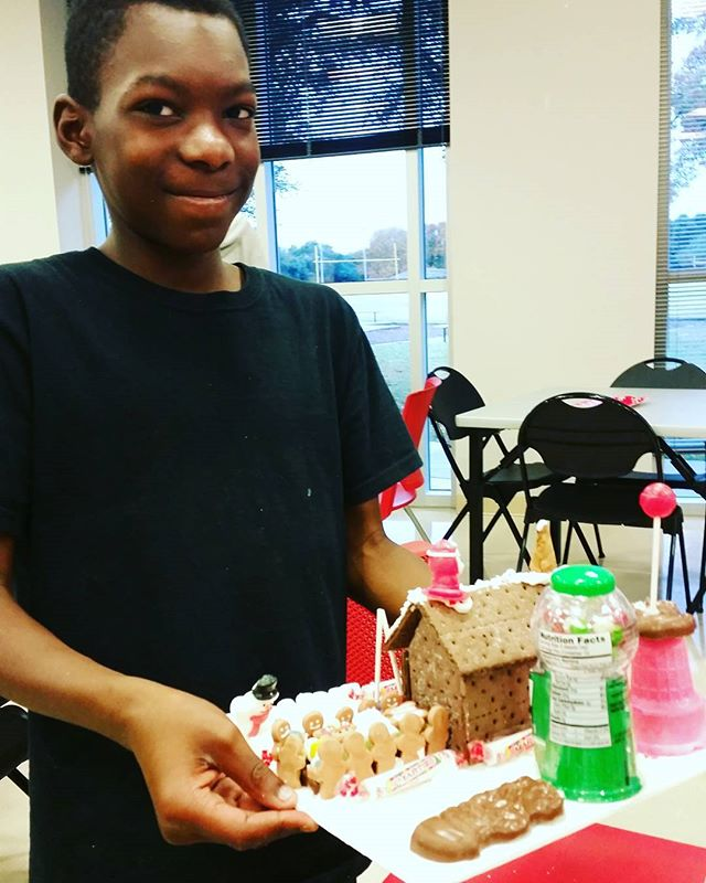 The story behind his gingerbread scene was awesome! #gingerbreadhouse party 2016