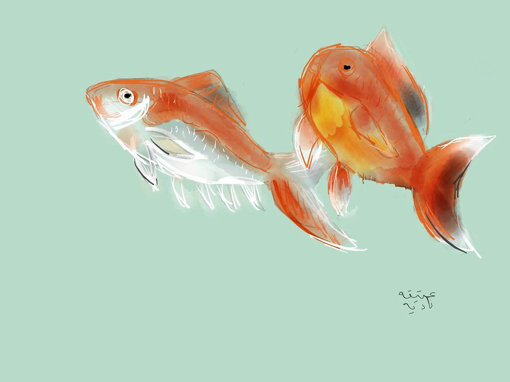 second painting of goldfish