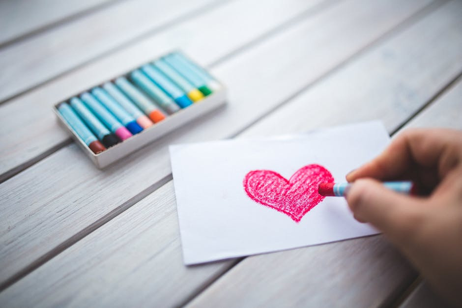 crayons and a heart