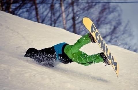 snowboarder falling