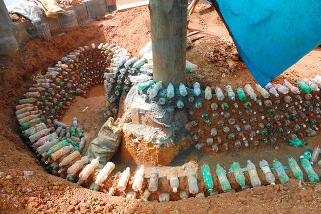 foundation of plastic bottles