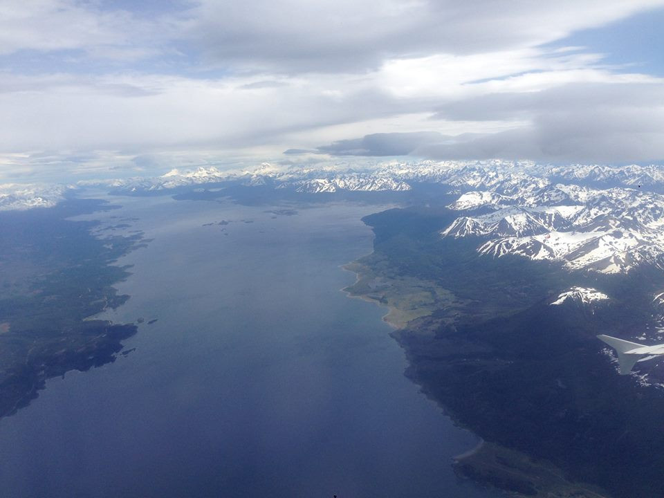 Airplane view of Ushuaia