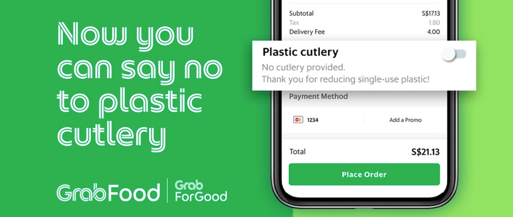 Grabfood say no to plastic cutlery