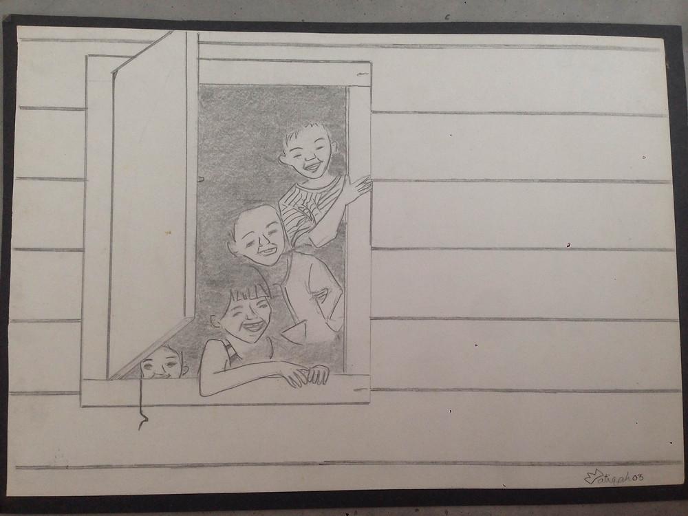 village kids sketch