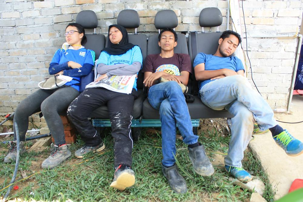 Sleeping on abandoned van seats