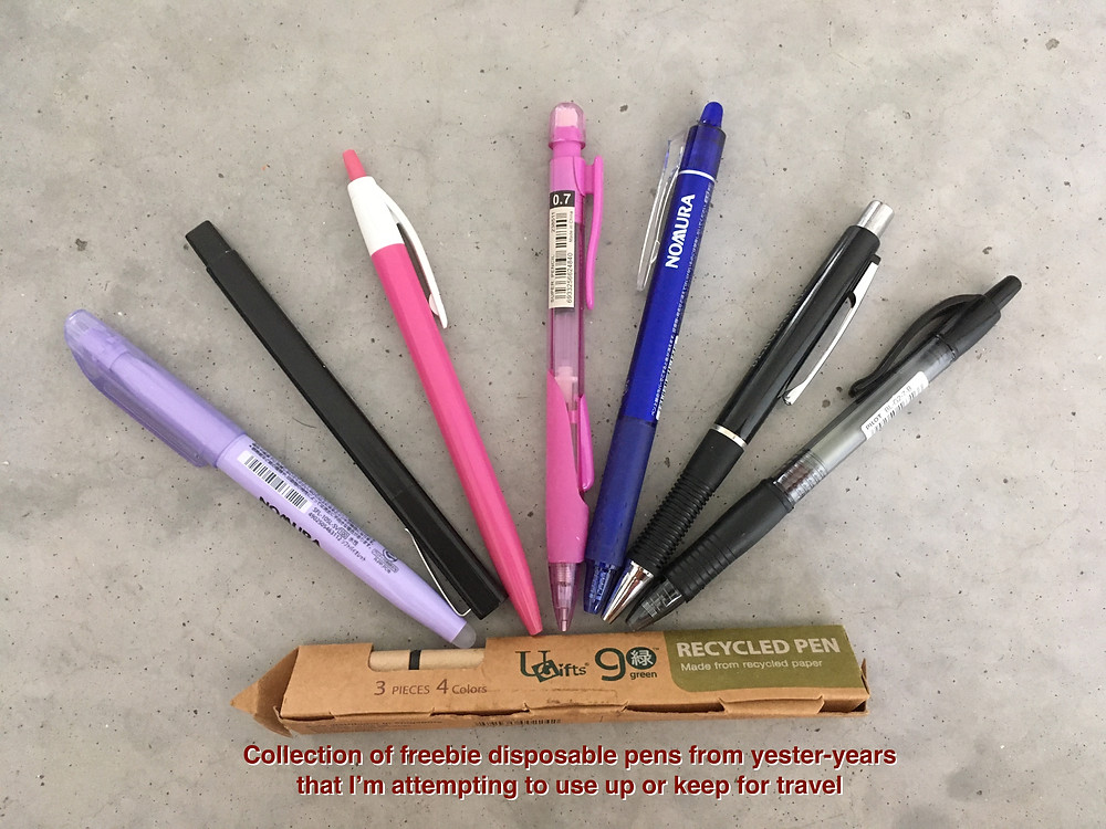 remaining collection of disposable pens