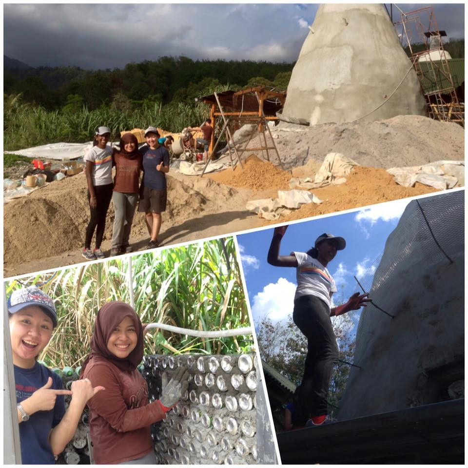 Helping build the earthship