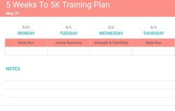 5 Weeks To 5K Training Plan