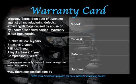 Warranty Thor Air Suspension 5 year airbag suspension
