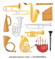 wind-musical-instruments-tools-isolated-