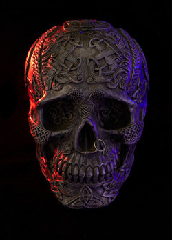 Red white and blue Skull