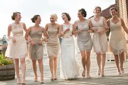 bridal-party-walking-at-lake-geneva-wedding