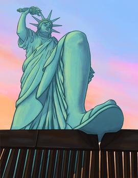 Lady Liberty Brings Down 'The Wall'
